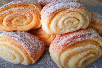 Дрожжевые булочки с заварным кремом. Очень вкусные и нежные