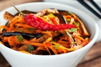 Быстрый салат из баклажанов по-корейски