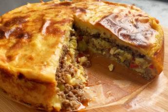 Картофельный пирог с мясом без теста